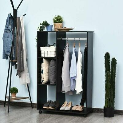 HOMCOM® Kleiderschrank offener Dielenschrank mit Stangen und Räder / Garderobe / Raumteiler Schwarz