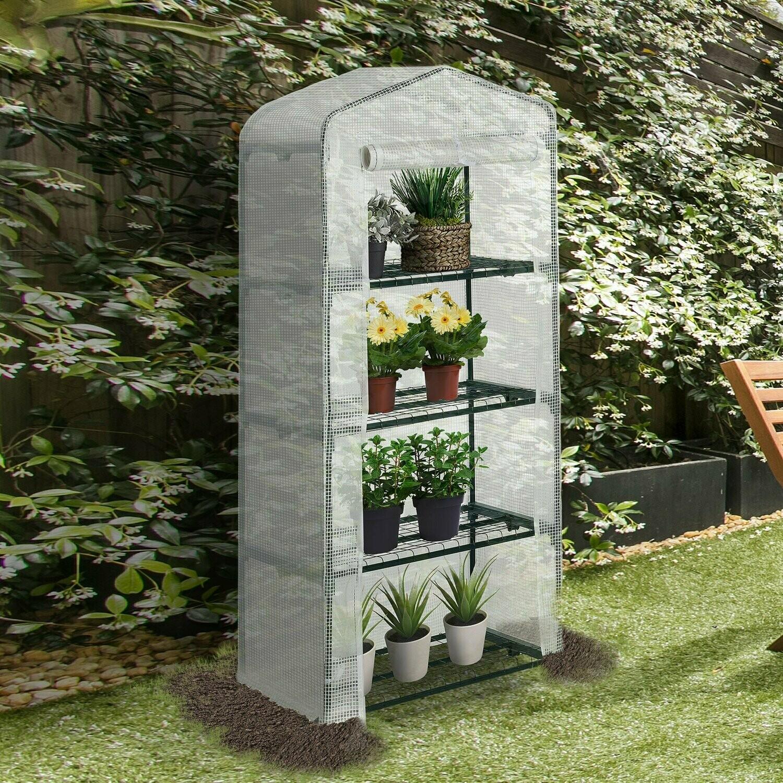 Outsunny® Gewächshaus Innenhof Balkon warmer Mini-Tragbarer Metallrahmen