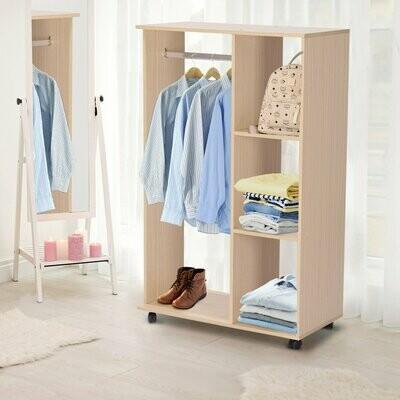 HOMCOM® Kleiderschrank offener Dielenschrank mit Stangen und Räder / Garderobe / Raumteiler natur