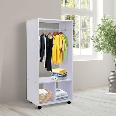 HOMCOM® Mobiler Kleiderschrank Garderobe Schrank Regal für Schlafzimmer Weiss