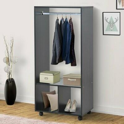 HOMCOM® Mobiler Kleiderschrank Garderobe Schrank Regal für Schlafzimmer Schwarz