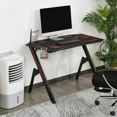 HOMCOM® Gaming Tisch Schreibtisch Büro Kopfhörer Haken Wasser Becherhalter ausgestattet