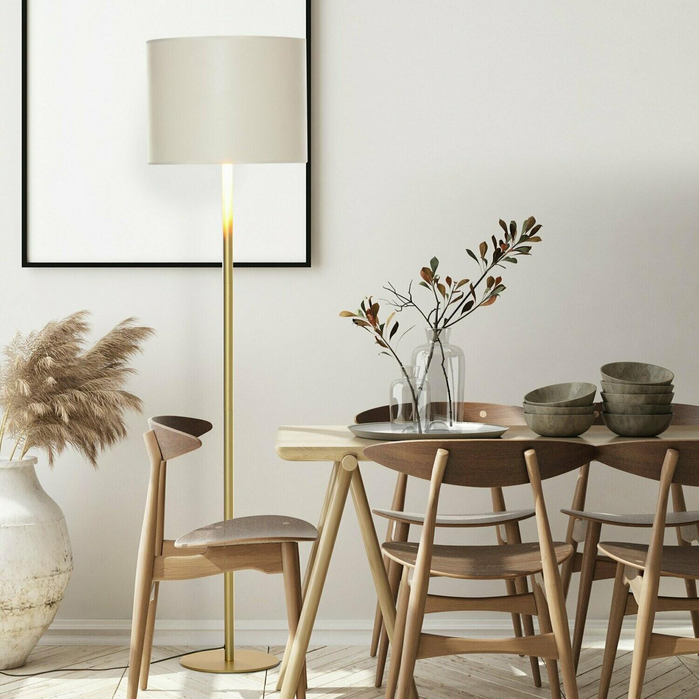 HOMCOM® Stehleuchte mit PU-Trommel-Lampenschirm für das Büro im Wohnzimmer Weiss