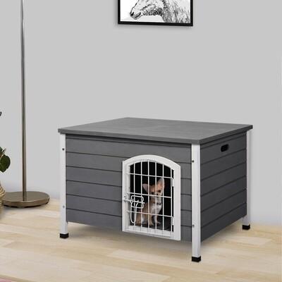 PawHut® Hundehütte mit Tür Hundebox Gitterbox Transportkäfig Katzenhaus Tanne Grau