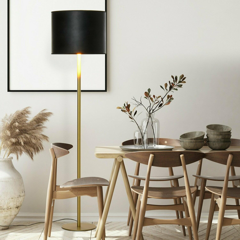 HOMCOM® Stehleuchte mit PU-Trommel-Lampenschirm für das Büro im Wohnzimmer Schwarz