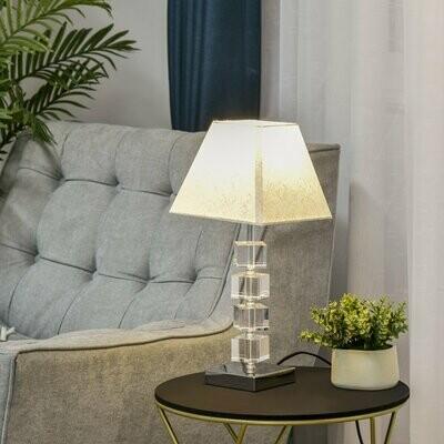 HOMCOM® Tischlampe mit drehbarem Kristallmast Stoffschirm Metallsockel für Home & Office