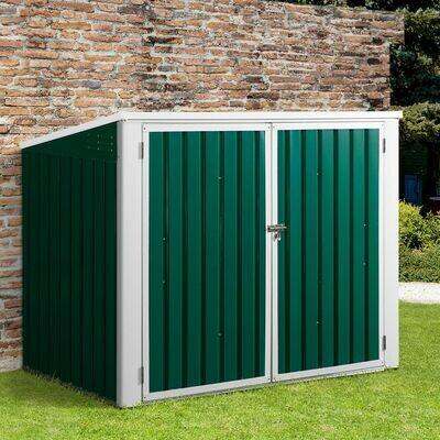 Outsunny® Mülltonnenbox Gerätebox Müllbox Storer für 2 Mülltonnen abschließbar Stahl Grün