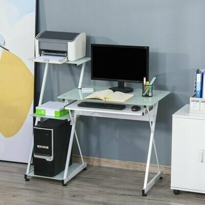 HOMCOM® Computertisch Schreibtisch Bürotisch + Gestell mit Glasplatte PC-Tisch Weiss für Home & Office