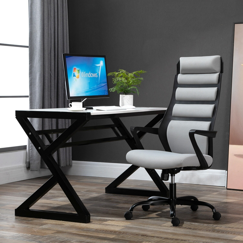 Vinsetto® Bürostuhl Drehstuhl mit Wippenfunktion höhenverstellbar Stahl Grau