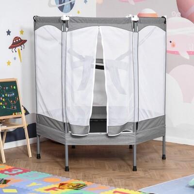 HOMCOM® Trampolin für Kinder Jumper mit Sicherheitsnetz Metall bis 50 kg Hellgrau