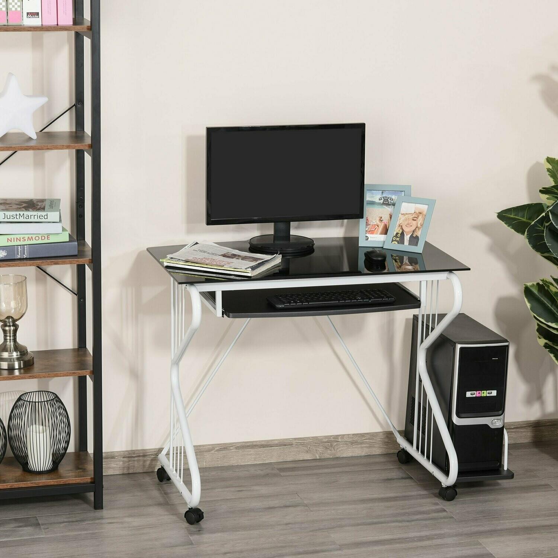 HOMCOM® Schreibtisch Computertisch PCTisch Bürotisch Spanplatte Stahl E1MDF Schwarz+Weiss