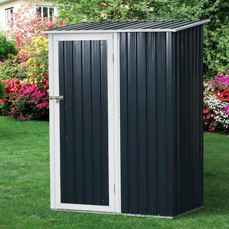 Outsunny® Gartenhaus Metallgerätehaus für den Aussenbereich Tür Outdoor Stahl Grau