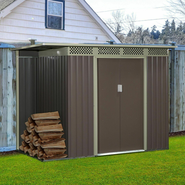 Outsunny® Gerätehaus Gartenhaus mit Schiebetür Fenster Outdoor Stahl Grau