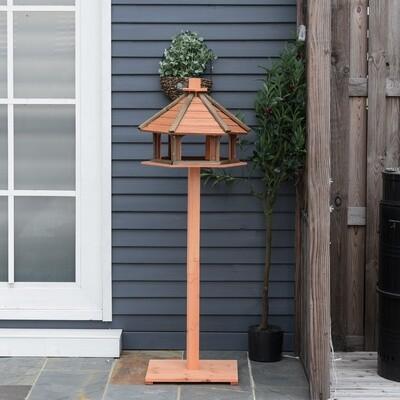 PawHut® Vogelhaus hölzerner Vogelständer mit wasserfestem Dach Tanne Ø52 x 130H cm