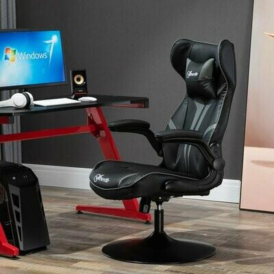Vinsetto® Bürostuhl Gaming Stuhl Ergonomischer Computerstuhl mit Wippenfunktion Stahl Schwarz