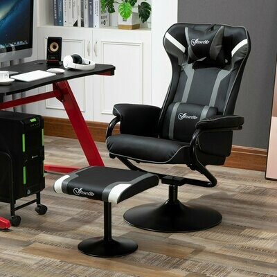 Vinsetto® Relaxsessel mit Hocker Fernsehsessel Gaming-Stuhl Bürostuhl 360° drehbar 130° neigbar
