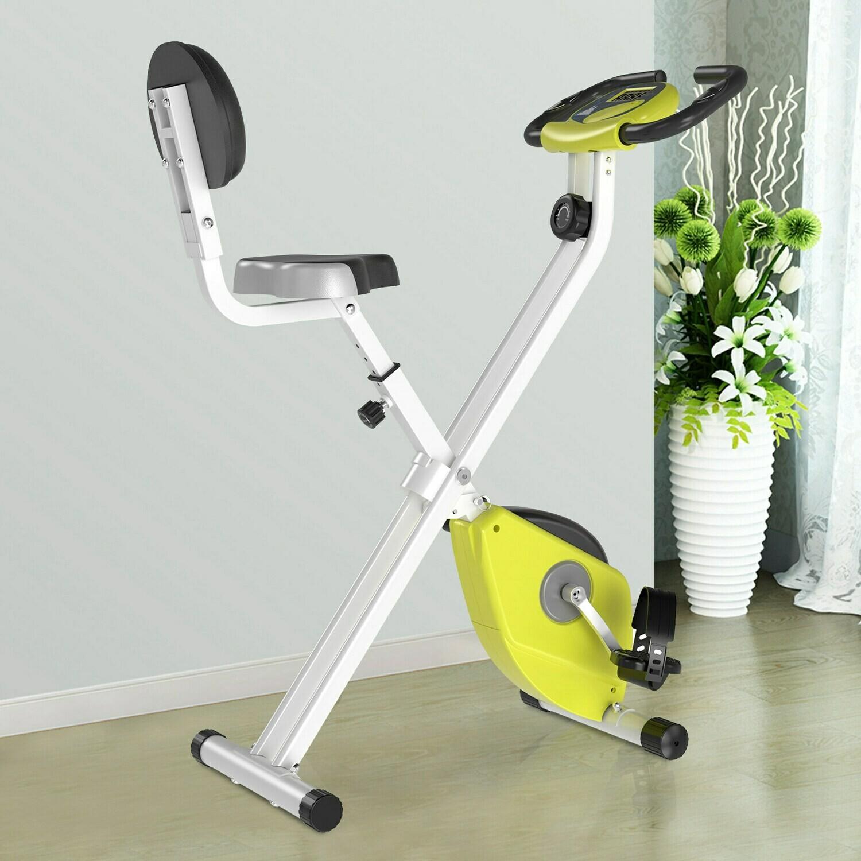 HOMCOM® Heimtrainer Fahrradtrainer mit 8 stufig Magnetwiderstand Stahl Gelb