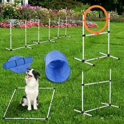PawHut® Hunde Agility Set Training für Haustiere mit Hundetunnel Inklusive Tasche