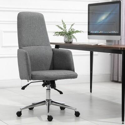 Vinsetto® Bürostuhl Drehstuhl mit Wippenfunktion höhenverstellbar Kunstleinen Grau