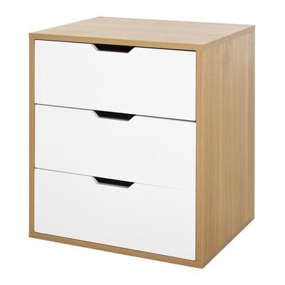 HOMCOM® Bürocontainer mit 3 Schubladen Aktenschrank Büroschrank Kommode Nachttisch E1 Spanplatte Weiss+Natur