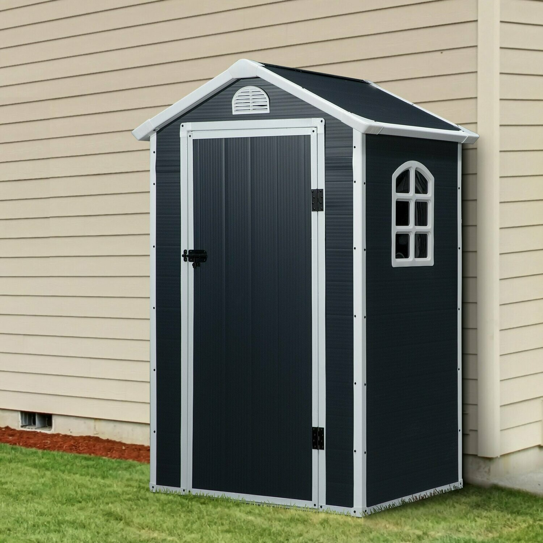 Outsunny® Gerätehaus Gartenhaus mit Fenster Pultdach Outdoor Metall Grau