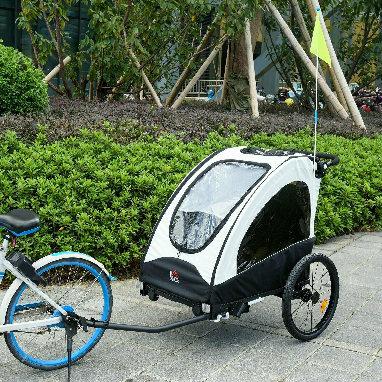 HOMCOM® 3 in 1 Jogger Velo-Anhänger Kinderanhänger Fahrradanhänger für zwei Kinder Weiss+Schwarz
