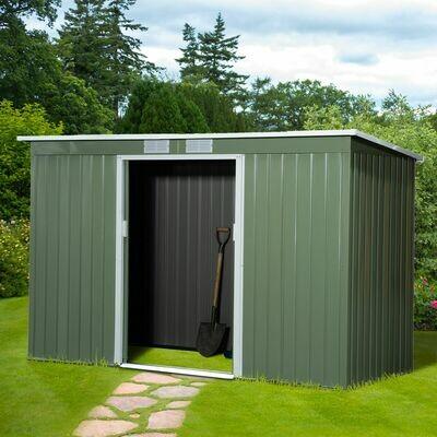 Outsunny® Gerätehaus Gartenhaus mit Schiebetür Fenster Outdoor Stahl Hellgrün