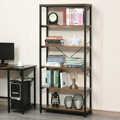 HOMCOM® Bücherregal mit 5 Fächer Standregal Gestell Industriestil E1 Spanplatte Braun