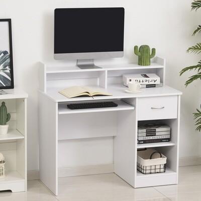 HOMCOM® Computertisch Schreibtisch Bürotisch Gamingtisch PC-Tisch mit Schublade Weiss