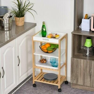 HOMCOM® Küchenwagen Servierwagen mit Ablage Abnehmbares Tablett Kiefer Weiss+Natur