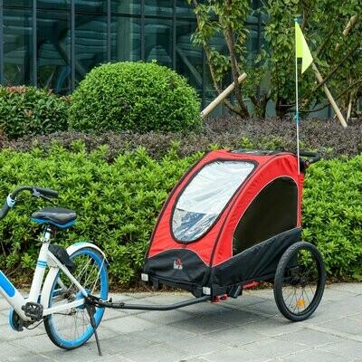 HOMCOM® 3 in 1 Jogger Velo-Anhänger Kinderanhänger Fahrradanhänger für zwei Kinder Rot+Schwarz