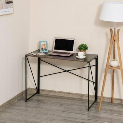 HOMCOM® Computertisch Schreibtisch Bürotisch PC Tisch Industrie-Design Stahl Braun