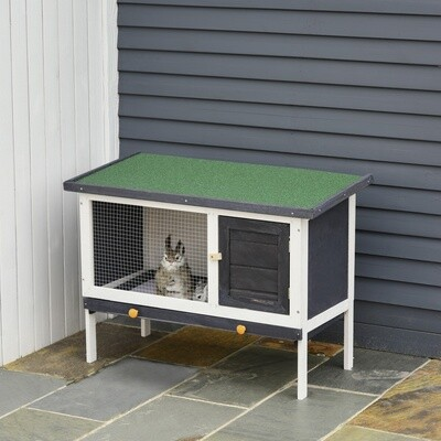 PawHut® Hasenstall Kaninchenstall Hasenkäfig mit Asphaltdach Massivholz Weiss+Grün