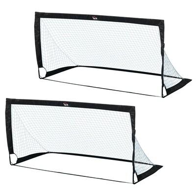HOMCOM® Fussballtore Fussballnetz 2er Set Minitore Faltbar Stahl Schwarz 186x90x89 cm