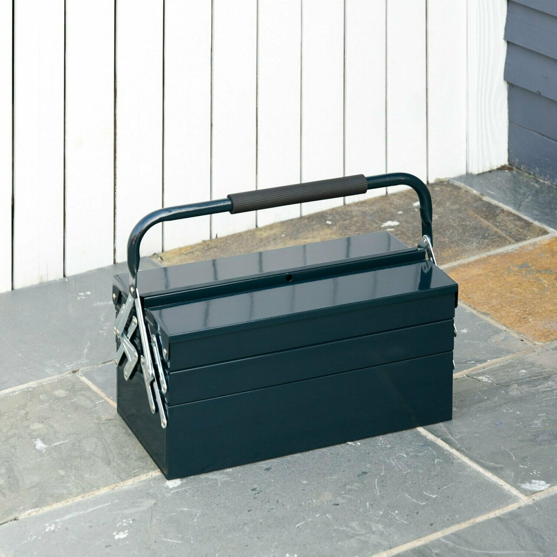 DURHAND® Werkzeugkasten Werkzeugkoffer 5 Fächer Stahl Dunkelgrün 57x21x41cm