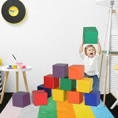 HOMCOM® Riesen-Bausteinset 12er-Set Schaumstoff Bauspielzeug für 1-3 Jahre alt Kinder EPE