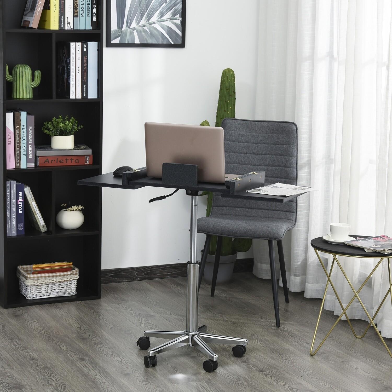 HOMCOM® Laptoptisch Laptop Ständer mit Rollen höhenverstellbar klappbar Stahl Schwarz - auch als Rednerpult