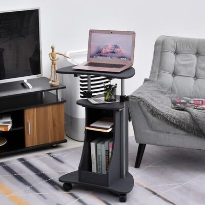 HOMCOM® Laptoptisch Laptop Ständer mit Rollen und Ablagefläche höhenverstellbar Stahl - auch als Rednerpult