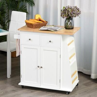 HOMCOM® Küchenwagen mit Rollen Servierwagen Küchenschrank mit Gewürzregal Gummiholz Weiss