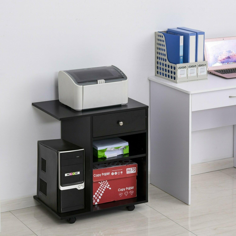 Vinsetto® Druckertisch Rollwagen Druckerständer mit Schubladen+Ablagen+CPU-Ständer Schwarz