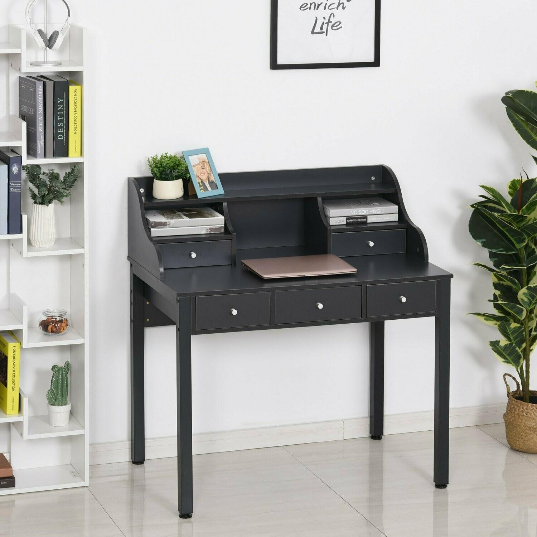 HOMCOM® Schreibtisch mit Regal Schublade Computertisch Bürotisch Sekretär MDF Dunkelgrau