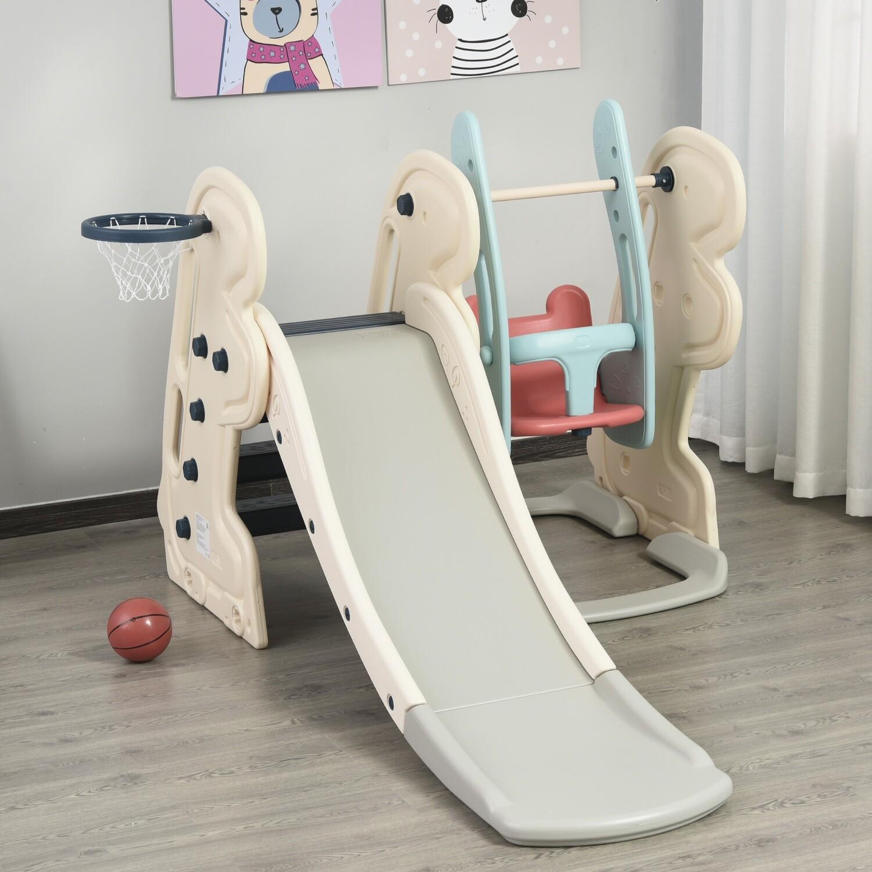 HOMCOM® 3-in-1 Kinder Rutsche Spielzeug Basketballkorb Schaukel Babyrutsch für 1-6 Jahre