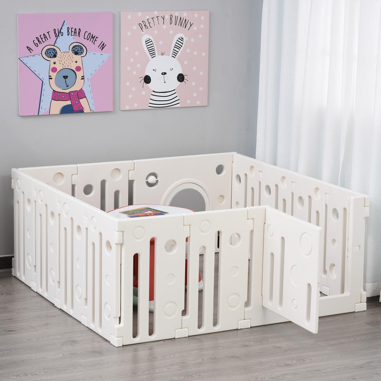 HOMCOM® Baby Laufgitter 14 Elemente Schutzgitter mit Tür und Spiel HDPE PP Weiss