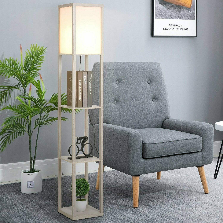 HOMCOM® Stehleuchte Beleuchtung mit 3 Regalen E27 bis 40W E1-MDF Eiche+Weiss