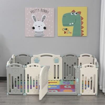 HOMCOM® Baby Laufgitter 14 Elemente Schutzgitter mit Tür und Spiel HDPE PP Grau