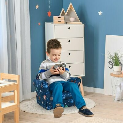 HOMCOM® Kindersessel Kinderzimmer Sofa Kindersofa Mini-Sofa-Sessel Polyester Blau Motiv Universum