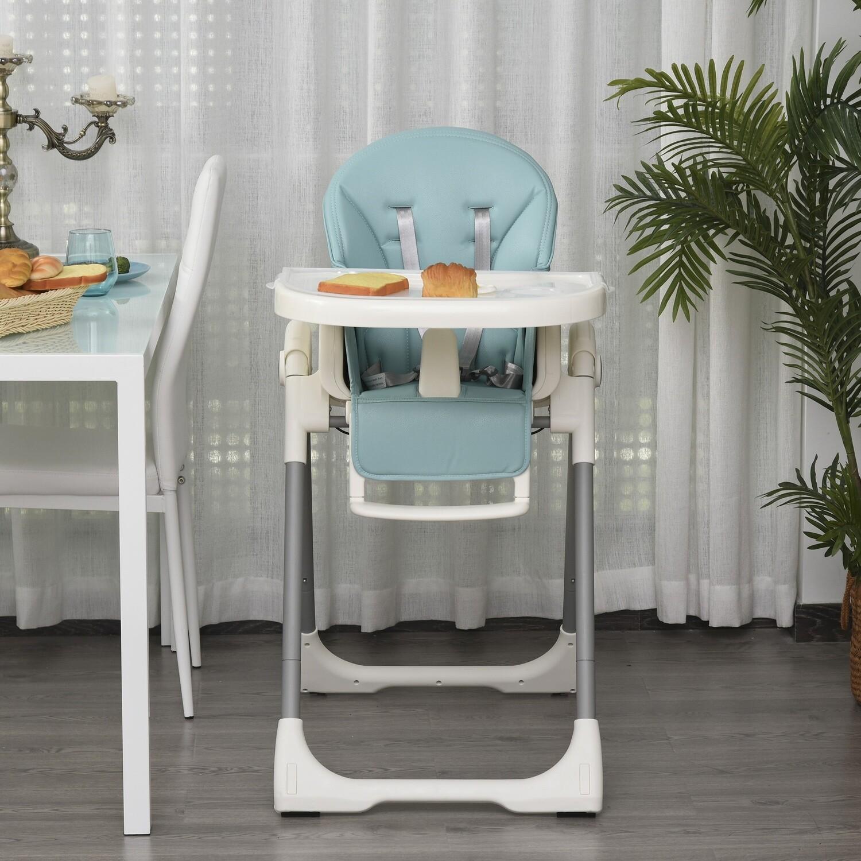 HOMCOM® Baby Hochstuhl Babystuhl verstellbar und klappbar für 6-36 Monate PP Stahl Blau