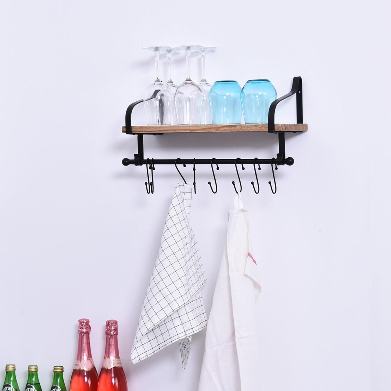 HOMCOM® Wandregal Schweberegal Wandboard mit 8 Haken Massivholz für Küche Schwarz+Natur
