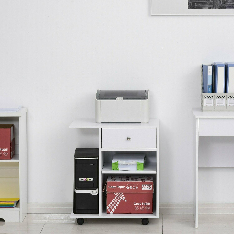 Vinsetto® Druckertisch Rollwagen Druckerständer mit Schubladen+Ablagen+CPU-Ständer Weiss