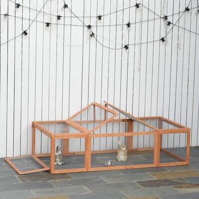 PawHut® Kaninchenstall Hasenstall mit Freilaufgehege Kleintierstall Massivholz Orange